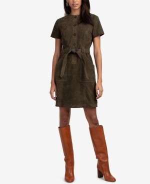 Trina Turk Penny Belted Suede Mini Dress