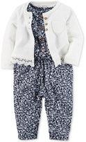 Carter's 2-Pc. Lace-Trim Cardigan & Floral-Print Jumpsuit Set, Baby Girls (0-24 months)