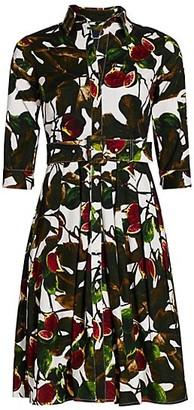 Samantha Sung Audrey Fig-Print Stretch-Cotton Shirtdress