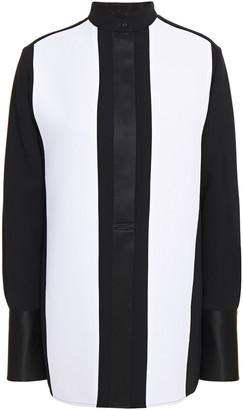 Victoria Victoria Beckham Satin-trimmed Two-tone Crepe De Chine Shirt