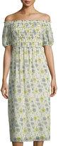 Max Studio Smocked-Bodice Floral-Print Midi Dress
