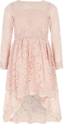 River Island Girls Pink lace embellished prom dress