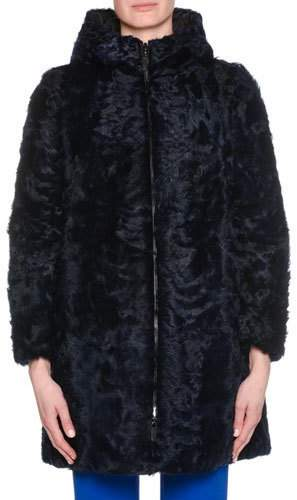 Giorgio Armani Zip-Front Curly Lamb Shearling Reversible Padded Coat