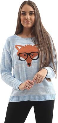 GirlzWalk Women's Ladies Fox Glasses Print Pullover Sweater Jumper (Small to Large) (Baby Pink Medium)