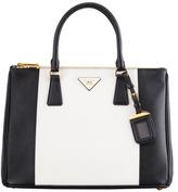 Prada Bicolor Saffiano Double-Zip Tote Bag, Black/White