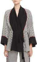 Talitha Collection Silk Scarf-Print Short Belted Robe