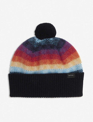 Paul Smith Ombre-striped lambswool beanie hat
