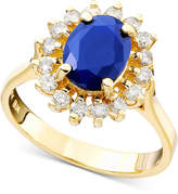Effy Royalty Inspired by Sapphire (1-9/10 ct. t.w.) and Diamond (1/2 ct. t.w.) Oval Ring in 14k Gold