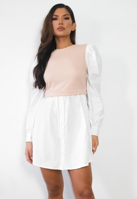 Missguided Stone Sweater Insert Puff Sleeve Shirt Dress
