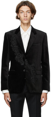 Alexander McQueen Black Pressed Velvet Floral Sash Blazer
