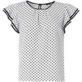 Dorothy Perkins Womens *Roman Originals White Polka Dot Frill Top
