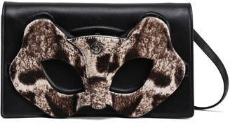Elena Ghisellini Quilted Snake-effect And Textured-leather Clutch