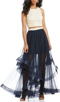 Jodi Kristopher Lace Top Two-Piece Tiered Skirt Long Dress