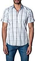 Jared Lang Woven Plaid Short Sleeve Trim Fit Shirt