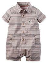 Carter's Size 3M Button-Front Stripe Romper in Khaki