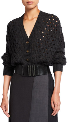 Brunello Cucinelli Cable-Knit Cashmere/Silk Paillette Cardigan