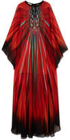 Elie Saab Printed Silk-georgette Gown - Orange
