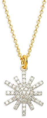 La Soula 14K White & Yellow Gold Diamond Starburst Pendant Necklace