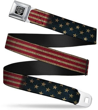 """Buckle Down Buckle-Down Seatbelt Belt - Vintage US Flag Stretch - 1.5"""" Wide - 24-38 Inches in Length"""