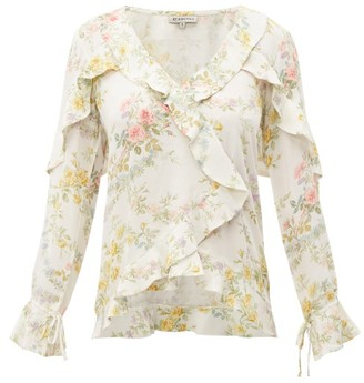 D'Ascoli Bedford Floral-print Ruffle-trim Silk Top - Yellow