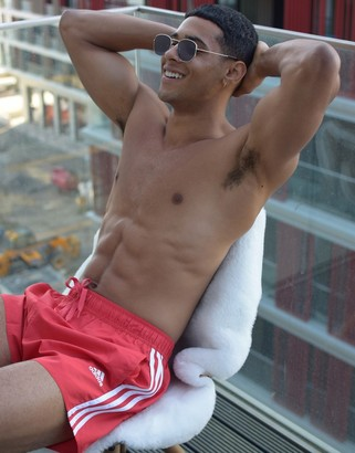adidas Swim 3 Stripe Shorts In Red