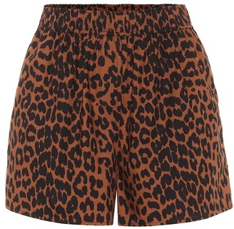 Ganni Leopard-print cotton shorts