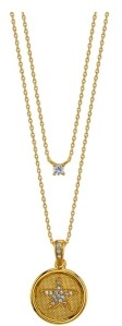 Unwritten Gold Flash Plated Crystal Star Coin and Clear Cubic Zirconia Layered Pendant Necklace