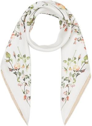 Burberry Rose-Print Silk Square Scarf