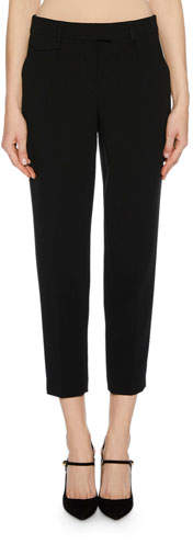 Giorgio Armani Zip-Front Crepe Ankle Pants w/ Front Pleat