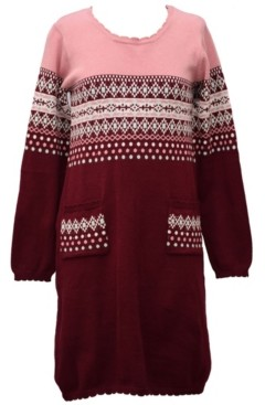 Bonnie Jean Little Girl Long Sleeved Intarsia Sweater Knit Dress With Two Front Pockets