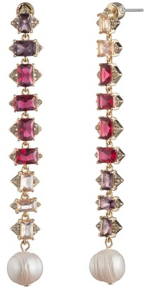 Carolee Pink Ombre Rhinestone Linear Freshwater Pearl Drop Earrings