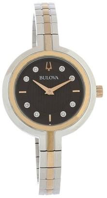 Bulova Women's 98P194 'Rhapsody' Two-Tone Stainless Steel Watch - Brown
