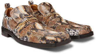 Martine Rose Chain-Trimmed Snake-Effect Leather Loafers
