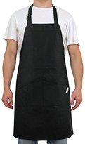 Deconovo 100% Cotton Coating Chef Kitchen Apron with Adjustable Neck Straps & Pockets, Black