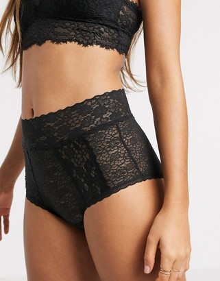aerie high waisted flirty lace brief in black
