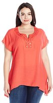 NY Collection Women's Plus-Size Tunic with Embellished Neck