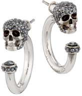 Alexander McQueen Pave Skull Silvertone Mini Hoop Earrings