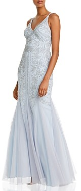 Aqua Embellished Mesh Gown - 100% Exclusive