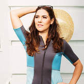 The Bathers Company NEW Womens short sleeved swimming top (rashie) in grey & aqua by The Bathers Com