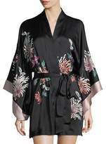 Josie Natori Chrysanthemum Embroidered Silk Robe