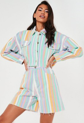 Missguided Green Co Ord Pastel Stripe Raw Hem Cropped Denim Jacket