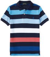 Ralph Lauren Mesh Striped Polo Shirt, Blue, Size 5-7