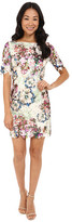 Tahari by Arthur S. Levine Petite Printed Lace 3/4 Sleeve Dress