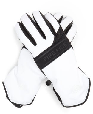 Bogner Fire & Ice Ilona Shell And Leather Ski Gloves - White Black