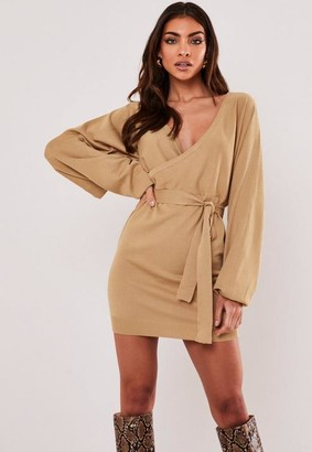 Missguided Camel Oversized Batwing Sleeve Mini Dress