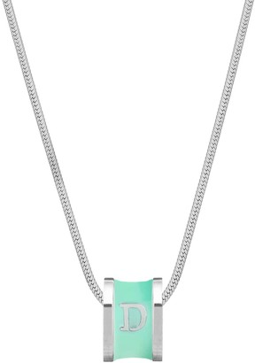 Florence London Initial D Silver Necklace With Turquoise Enamel