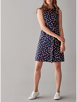 People Tree V&A Seed Print Frill Dress, Navy