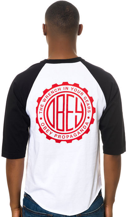 Obey The Wrench in Your Gears Baseball Tee in White and Black