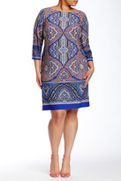 London Times Long Sleeve Printed Shift Dress (Plus Size)