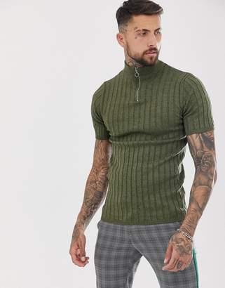 Asos Design DESIGN knitted rib half zip t-shirt in khaki-Green